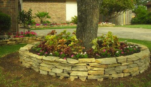 how to make a raised flower bed around a tree 2